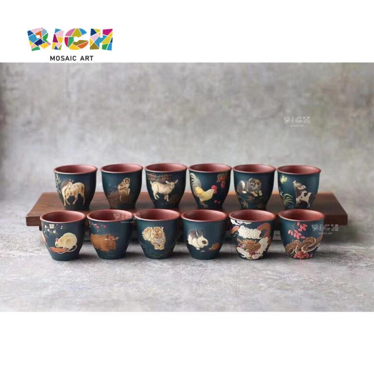 RM-CSF10 12 Zodiac Teacup Purple Sands Cerâmica Master Work Gift Collection